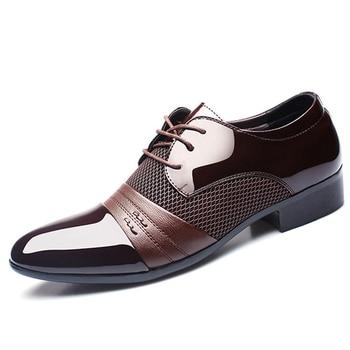 Zapatos de vestir para hombre, zapatos Oxford de piel, moda de boda, estilo británico, para hombre, fiesta de negocios, zapatos de oficina, zapatos para hombres