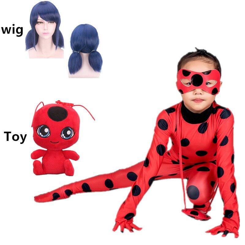 2019 Adult Girls Lady Bug Costume Clothing Sets Kids Halloween Party Cosplay Marinette Little Beetle Suit Ladybug Jumpsuit
