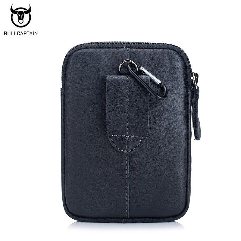 BULLCAPTAIN Fashion Mens Waist Packs Bag Äkta Läder Small Man Bag - Bälten väskor - Foto 3