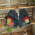 2017 Summer New Mori Women College College Wind Hit Color Patch Insect Embroidery Flanging Cowboy Shorts Hot  Women