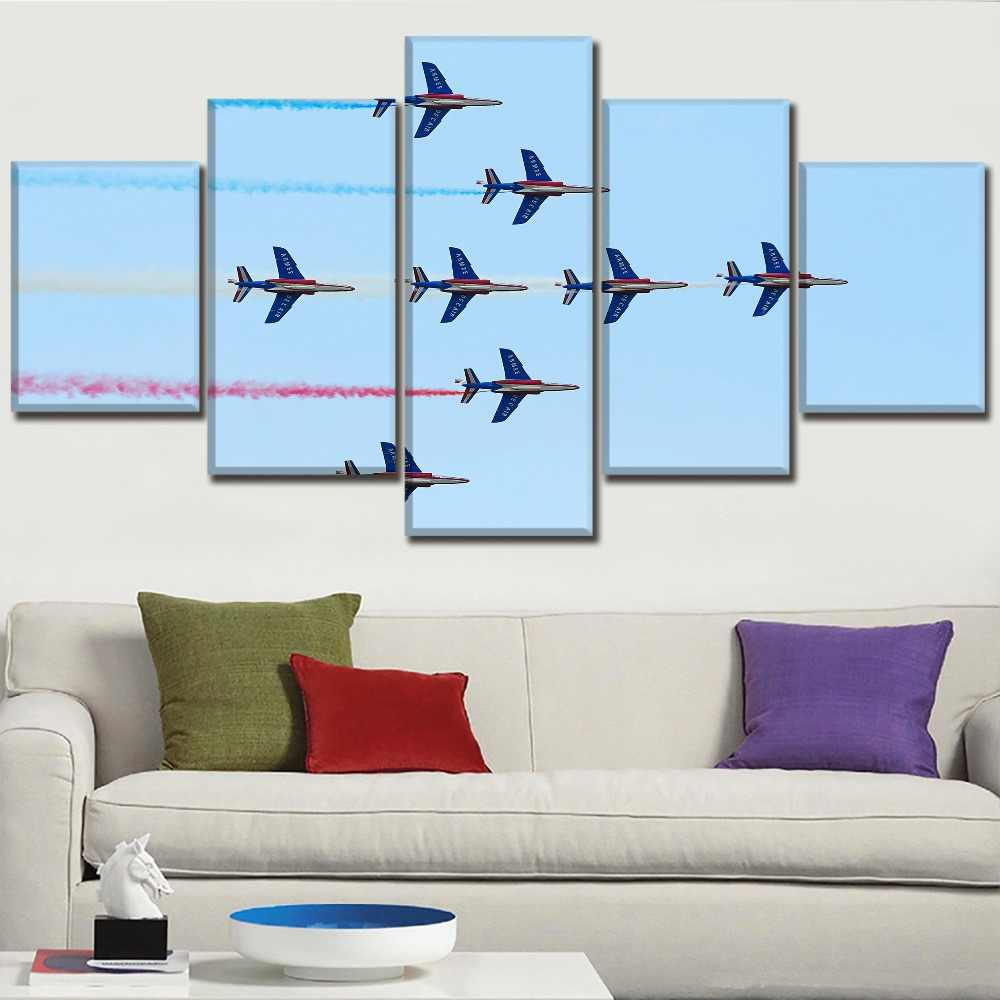 Canvas Paintings Home Decor Living Room Wall Art HD Prints Pictures 5 Piece Military Demo Airplane Posters Decorative Framework