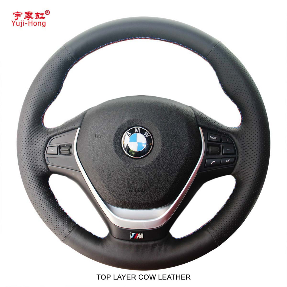 Yuji Hong Top Layer Genuine Cow Leather Car Steering Wheel Covers Case for BMW 320i M135i