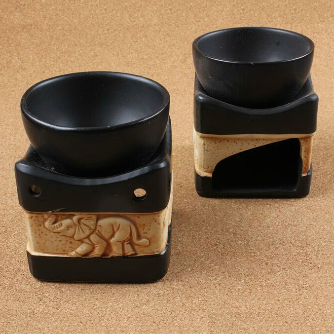 Antique Elephant Fragrance Deodorant Burner Ceramic Aromatherapy Oil Burner Essential Scent Container Home Decoration SK111