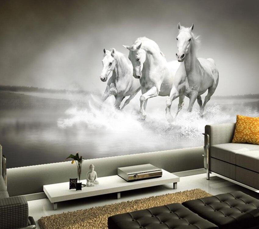 Peintures murales 3d personnalisées, trois chevaux blancs en cours d'exécution papel de parede, salon canapé tv mur enfants chambre 3d papier peint décor mural
