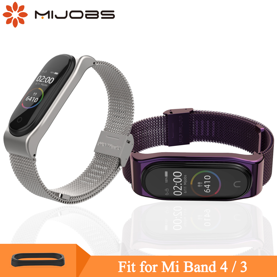Mijobs Mi Band 4 Wrist Strap Metal Milanese Stainless Steel For Xiaomi Mi Band 3 Strap Smart Wristbands For Mi Band 4 Miband 3