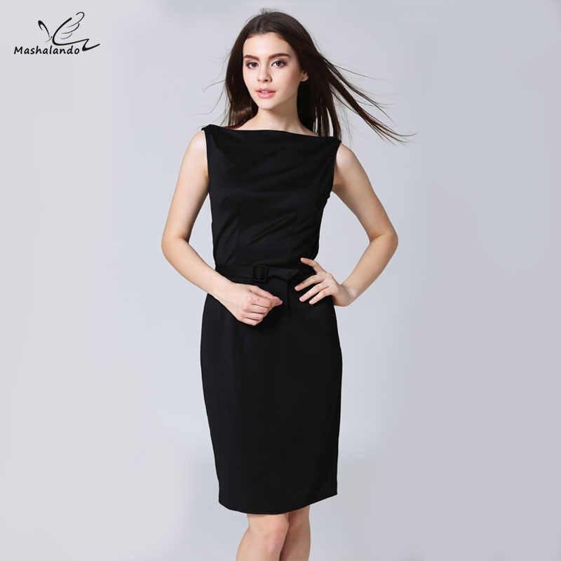 ccd31c1fb62 Mashalando Элегантный Бизнес офис карандаш платье черные летние для женщин  платья для Vestidos Oficina Mujer 2017