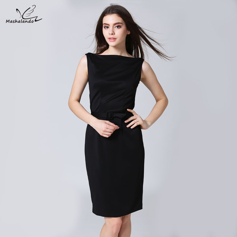 Mashalando Elegant Business Office Pencil Dress Black Summer Women Dresses  Vestidos Oficina Mujer 2017 Backless Dress-in Dresses from Women s Clothing  on ... e6aabef8b2e9