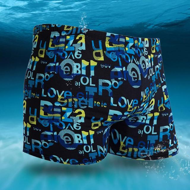 2018 Outdoor Hot Sale Men's Large Size Swimming Blue Trunks With Flower Prints And Milk Fiber L-XXXL  Drop Ship