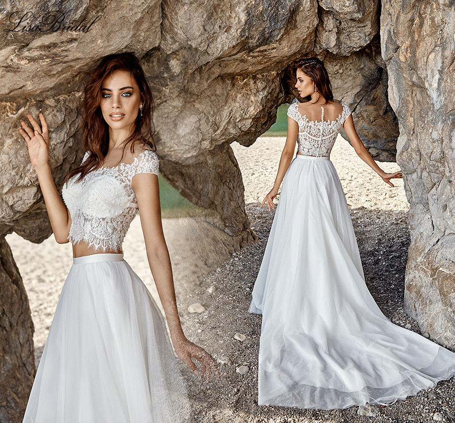 Popular 2 piece bridal gowns buy cheap 2 piece bridal for Cheap 2 piece wedding dresses