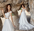New Summer Beach Wedding Dresses 2017 Illusion Neck Cap Sleeve Court Train Lace Tulle A-Line 2 Pieces Bridal Gown Robe de mariee