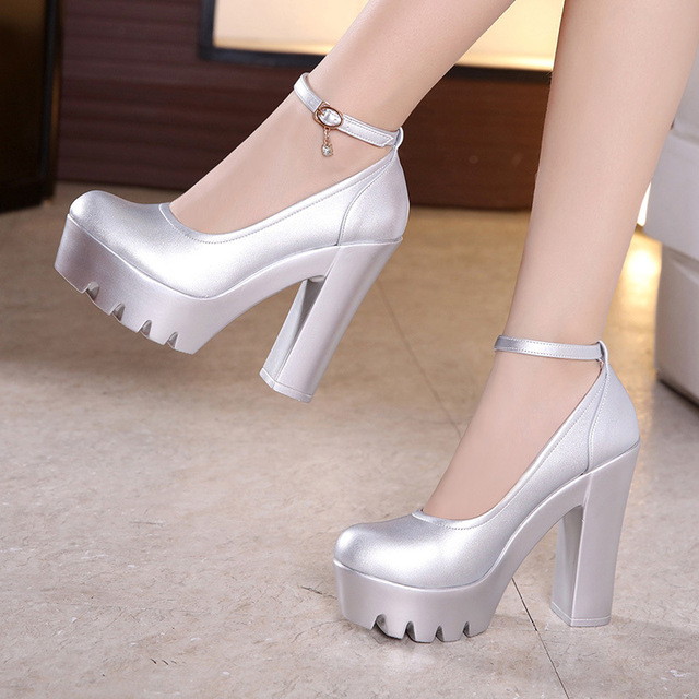 Big Size 33 43 Autumn Buckle Block Heels Office Shoes Ladies 2018 Split Leather Pumps Women High Heel Party Wedding Shoes 13cm by Ali Express