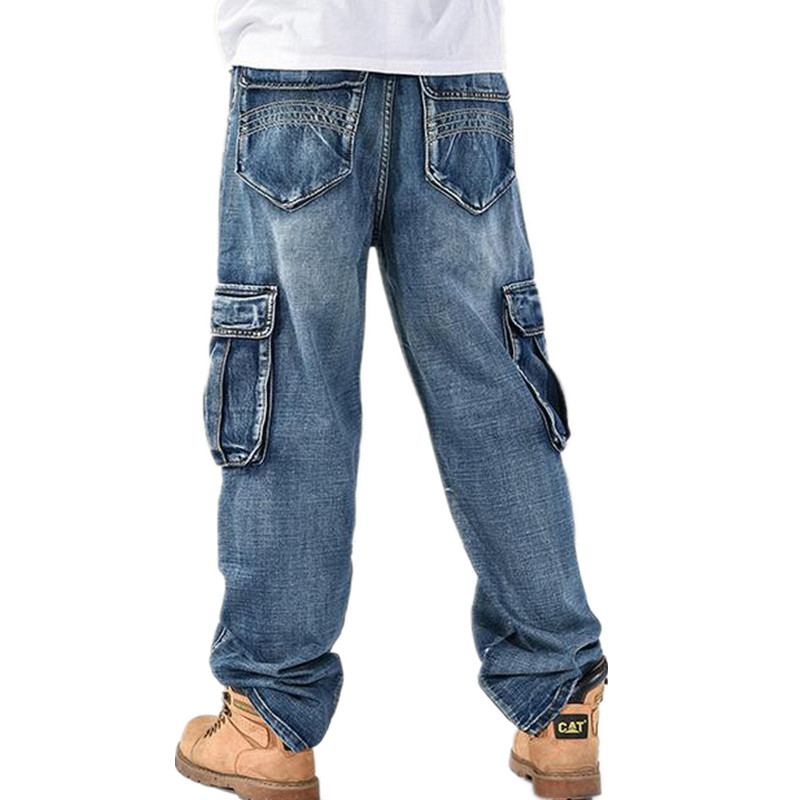 Fashion Trend Jeans Man Hiphop Skateboarders Denim Pants Autumn Winter Trousers Loose Fertilizer increased Men Big Size Hip Hop summer new 2016 fashion plus size hiphop jeans men trousers thin calf lenght pants loose man s baggy pants 1802 1