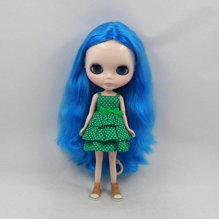 Beaukiss Блайт кукла Голая 12 дюймов Мода Синий Длинные Волосы BJD 1/6 Модели куклы Мини DIY Мультфильм Куклы Для Девочек
