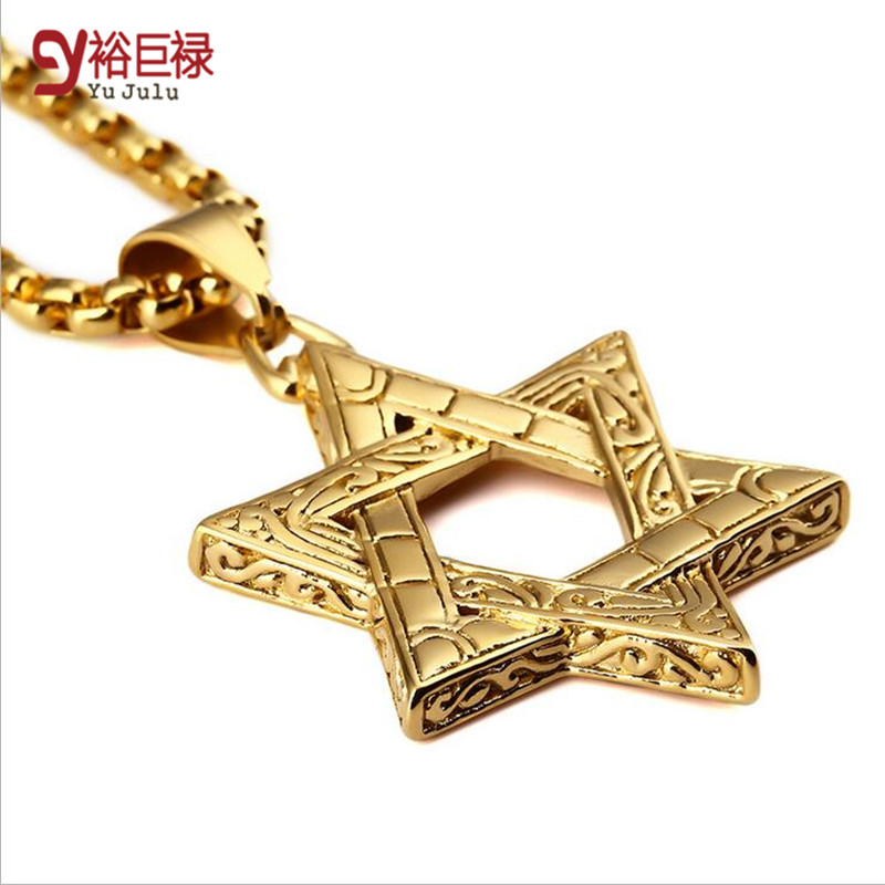 Punk Gold Hip Hop For Men Vintage Mysterious Stainless Steel Jewish Star Of David Pendants Cuban