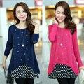 Coreano de dos piezas mujeres embarazadas ropa de maternidad suéteres del suéter de punto de algodón que basa cuello redondo ropa