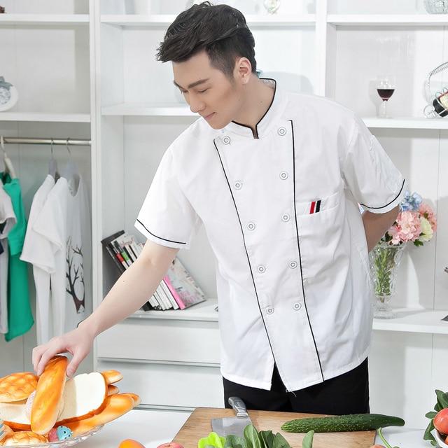 2017 Baru Musim Panas Lengan Pendek Chef Jaket Berkualitas Tinggi Mantel Memakai Seragam Restoran Memasak