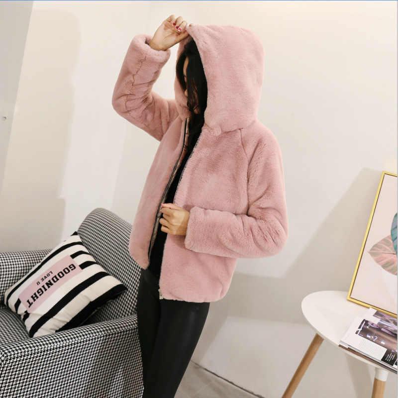 2018 nuevo abrigo de piel de visón de imitación para mujer