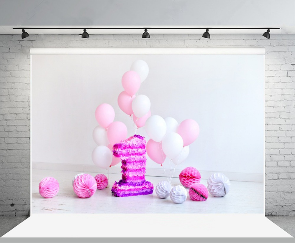 Laeacoo Pink Balloons Paper Ball Number 1st Birthday Baby Photography Backdrops Vinyl Custom Photo Backgrounds For Photo Studio kids birthday balloons mini crown number balloons boy happy birthday candy princess balloon 40 30cm not include stander