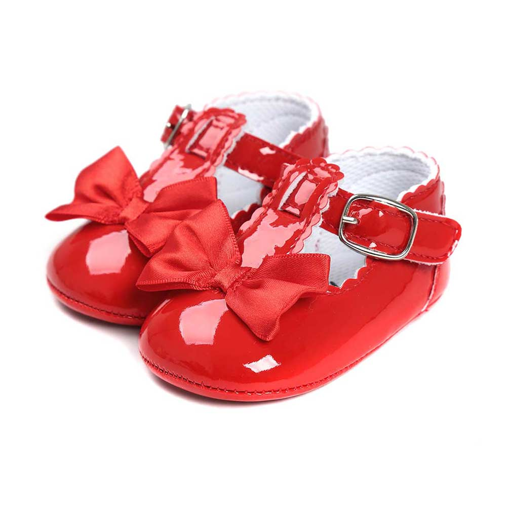 0-18 Month Cute  Infant  Baby Soft Sole Suede PU Leather Shoes Baby Girl Bow Anti-slip Crib Shoes M09