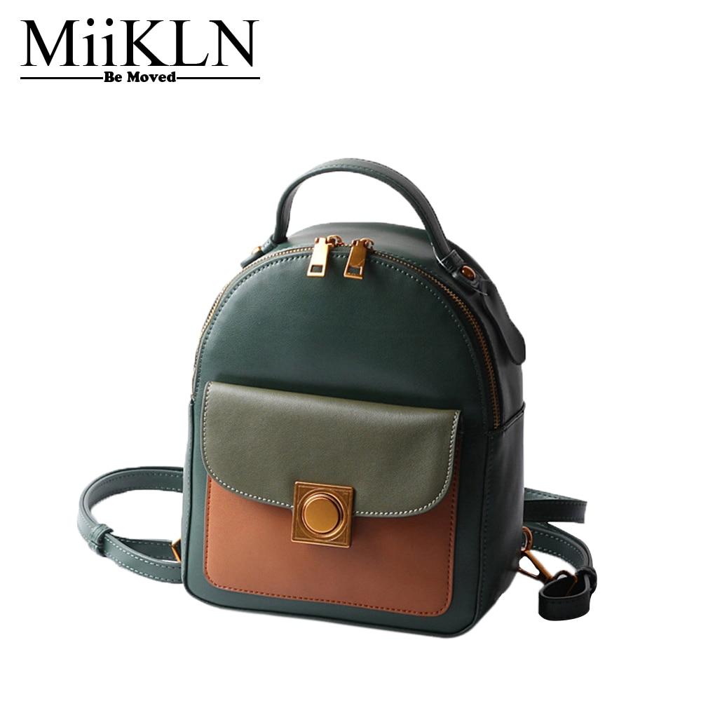MiiKLN Cute Fashion Small Women Backpack Cow Split Leather Green Black Brown Travel Mini Female Backpack Ladies Back Pack