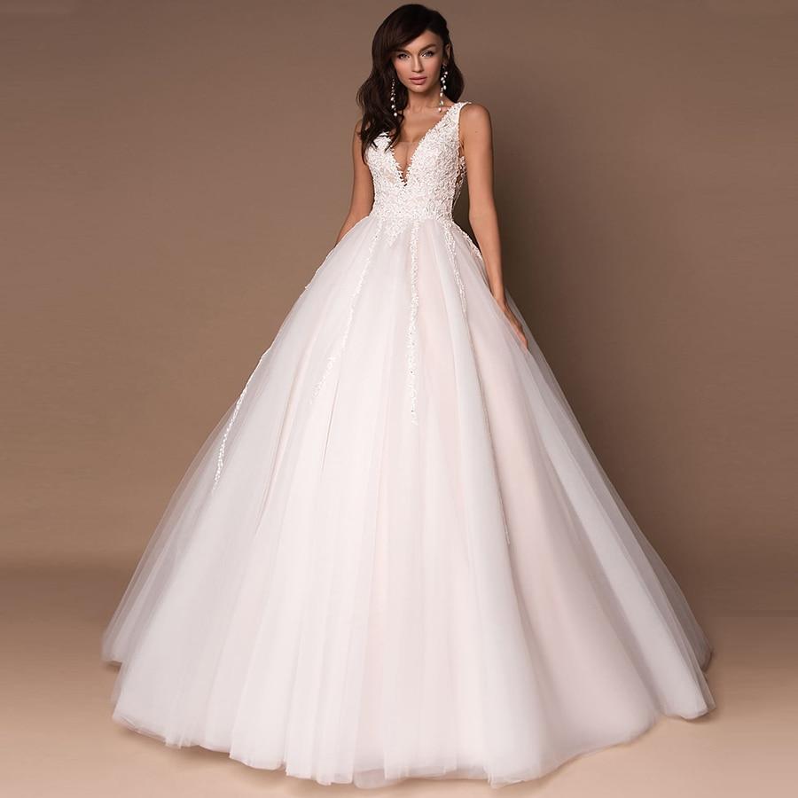 Sexy V-neck Sleeveless Wedding Dresses Vestidos De Novia Sleeveless Beading Applique Ball Gown Wedding Dress Custom Design