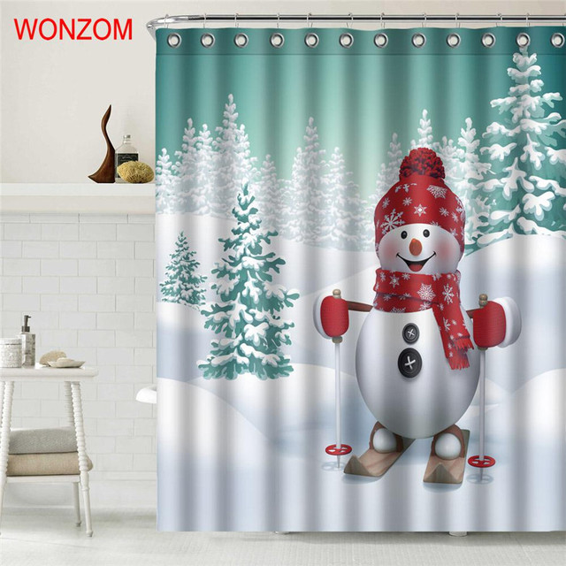 WONZOM Snowman Shower Curtain Bathroom Decor Modern Waterproof Curtains For  Bathroom 2017 Christmas Gift