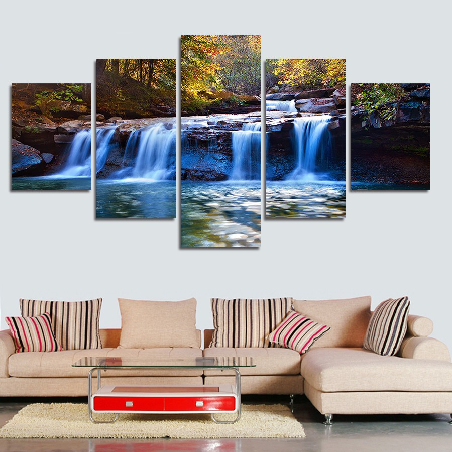 Waterfall wall decor gallery home wall decoration ideas awesome waterfall wall decor images home decorating ideas 5pieces set forest waterfall wall art for wall amipublicfo Choice Image