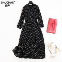 SHUCHAN Natural Silk Dresses Women Long Dress Vintage Dot Three Quarter Sleeve Summer Dress For Women