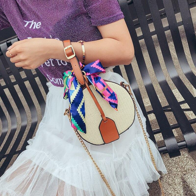 2018 Summer Round Women Straw Bags Rattan Woven Beach Shoulder Bags Ladies Crossbody Tote Handbag Female Bohemian Handmade Bolsa