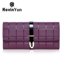 KEVIN YUN Designer Brand Fashion Women Wallets Long Split Leather Lady Trifold Plaid Purse