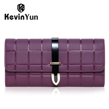 KEVIN YUN Designer Brand Fashion Women Wallets Long Split Leather Lady Trifold Plaid Purse