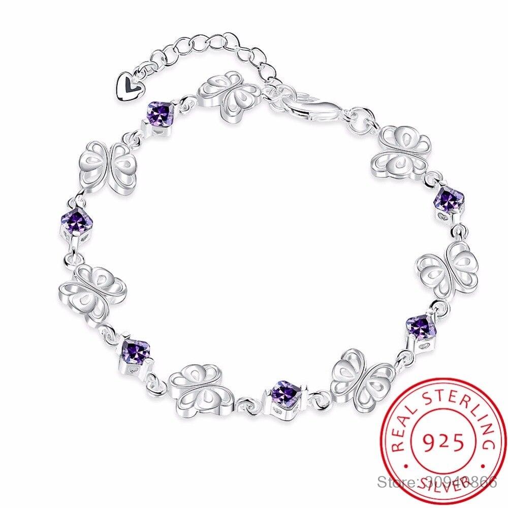 LEKANI Real 925 Sterling Silver Fine Jewelry Clear Purple AAA+ CZ Zirconia Crystal Butterfly Heart Bracelet Bangle For Wome