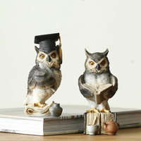 Bachelor cap Owls Resin Sculpture Creative Owls animal home decoration