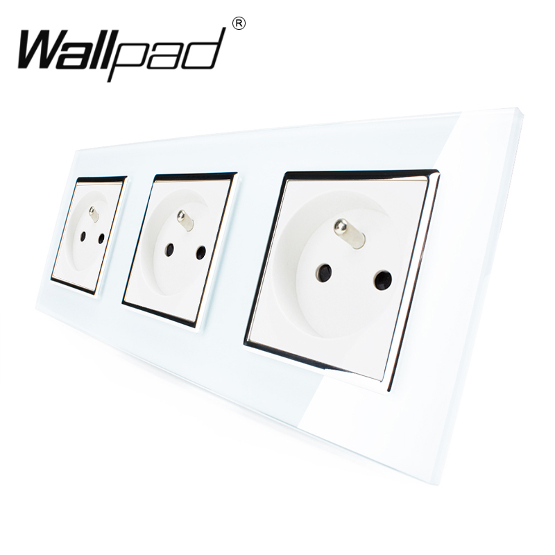 цена на Best 3 French Socket Wallpad Luxury White Crystal Glass Triple Frame 16A Plug EU French Standard Wall Socket with Claws Mounting