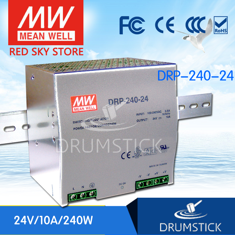 ФОТО [freeshippingB 1Pcs] MEAN WELL DRP-240-24 24V 10A meanwell DRP-240 240W Single Output Industrial DIN Rail Power Supply