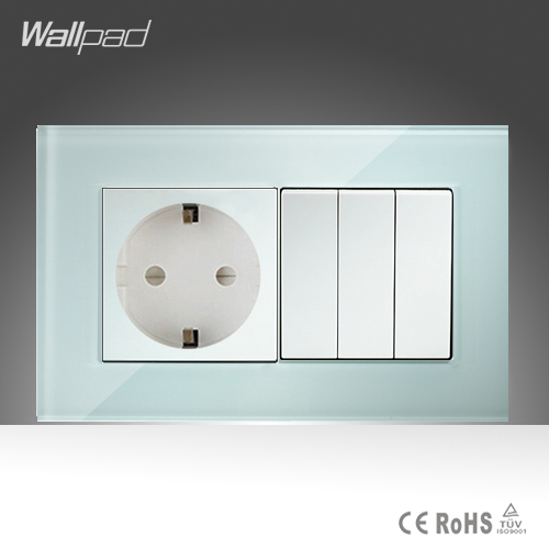 European Socket and 3 Gang Wallpad 146*86mm BS CE White Crystal Glass 16A EU Socket and 3 Gang Switch Free Shipping 10a universal socket and 3 gang 1 way switch wallpad 146 86mm white crystal glass 3 push button switch and socket free shipping