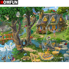 HOMFUN Full Square/Round Drill 5D DIY Diamond Painting House landscape Embroidery Cross Stitch 5D Home Decor Gift A18128 homfun full square round drill 5d diy diamond painting house landscape embroidery cross stitch 5d home decor gift a18092