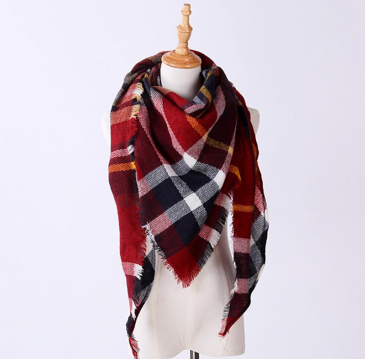 50pcs/lot Classic Winter Triangle Scarf for Women Designer Shawl Cashmere Plaid Scarves Blanket 140*140*200cm 20 Style