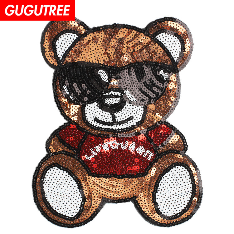 GUGUTREE embroidery paillette big bear patches cartoon badges for clothing
