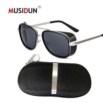 a3142dace3 Oulylan gafas de sol de lujo Steampunk para hombre Tony Stark Iron Man  gafas de sol Vintage Metal gafas de vapor Punk gafas de sol UV400 hombre