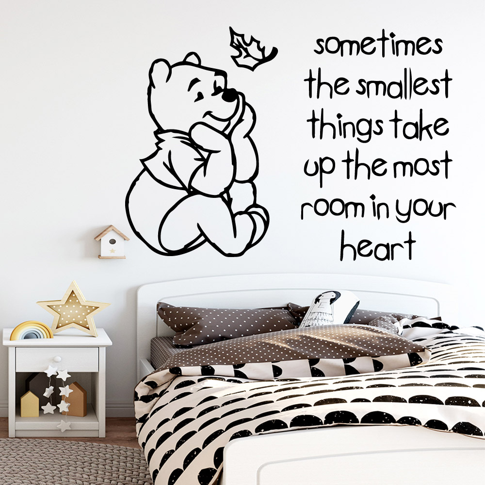 Cartoon Style heart quotes winnie Wall Stickers Modern Interior Art Decoration For Kids Rooms Home Decor Pvc Decals