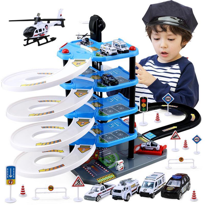 Model Toy For Children Parking Lot Toy Multi-layer Railway Rail Car Model Boy Alloy Car Toy Gift