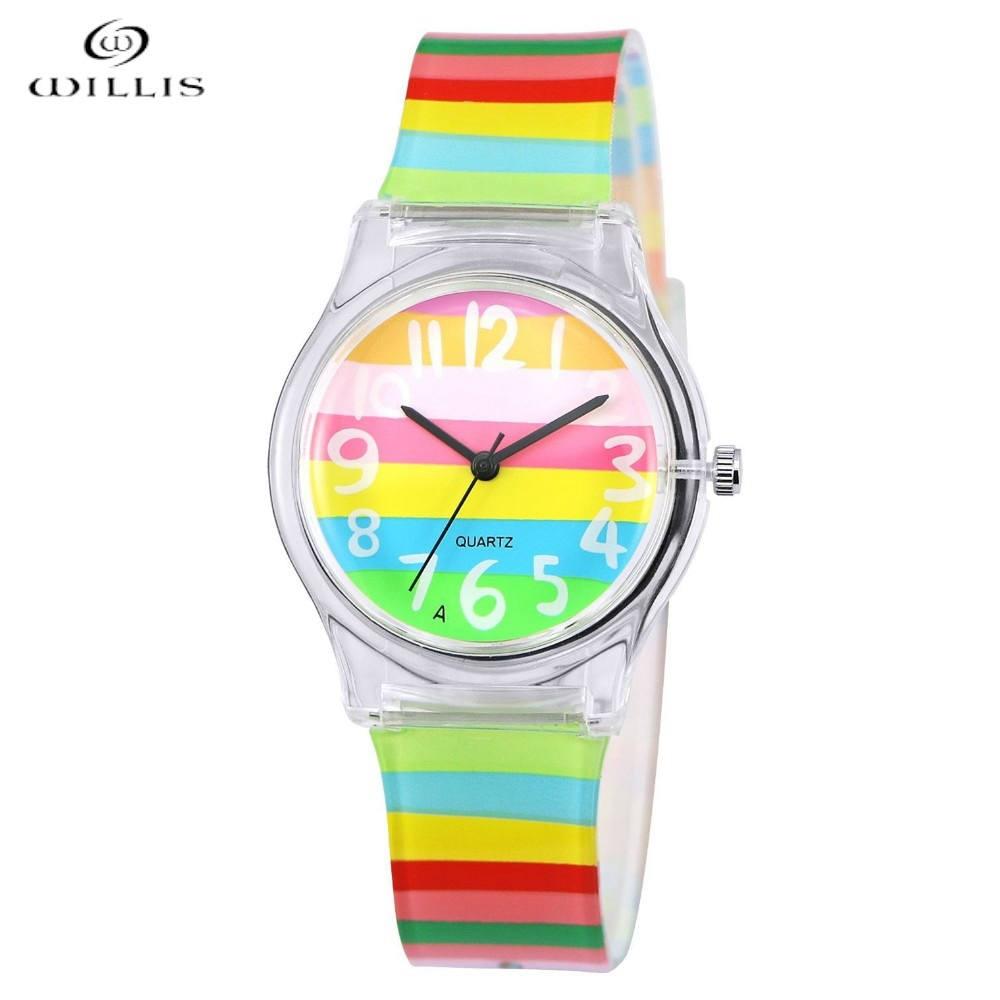 윌리스 여성 실리콘 스트랩 시계 수 지 테이블 - 여성 시계