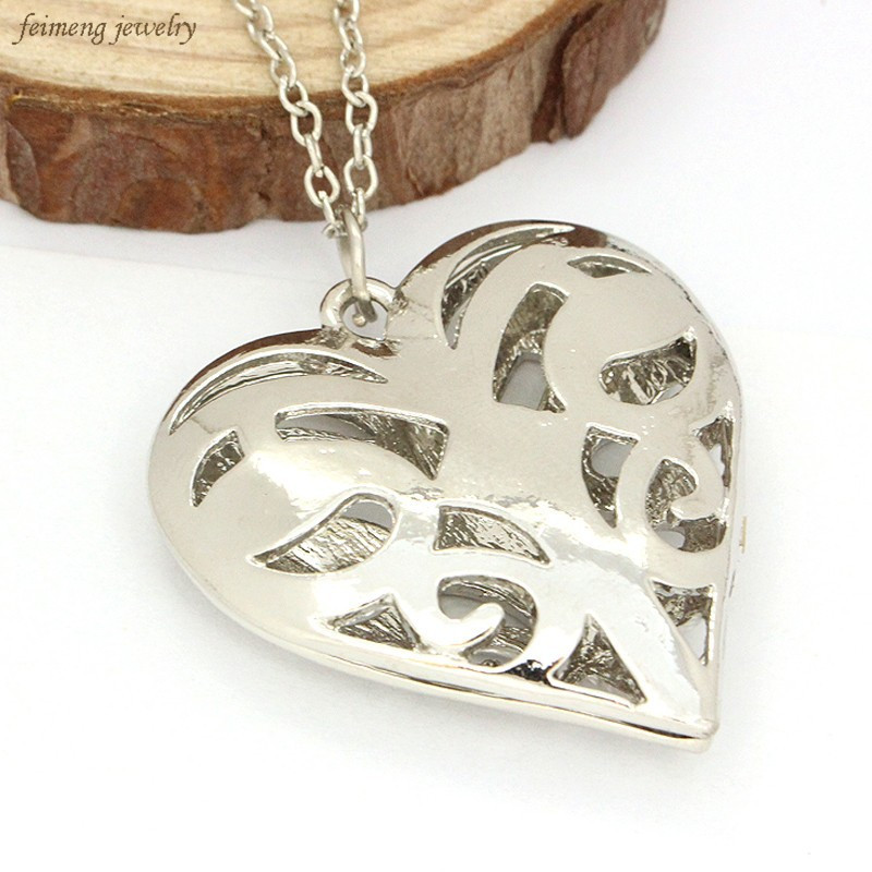 Movie Jewelry Vampire Diary Originals Family Caroline Forbes Necklace Filigree Heart Locket Real Vervain Necklace Christmas Gift