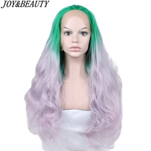 JOY&BEAUTY Hand Tied Green Light purple Ombre High Temperature Fiber Hair Long Wavy Glueless Synthetic Lace Front Wig For Women