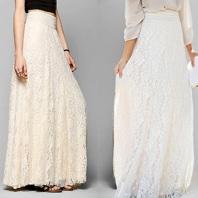 2018 Women Lace Maxi Skirt Multilayer Girl Double Layer Flower Pleated Maxi Elastic High Waist Floor Length White Skirts