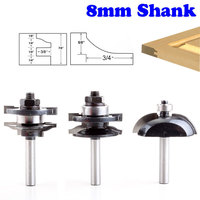 3pcs 8mm Shank Raised Panel Cabinet Door Router Bit Set Woodworking Cutter Woodworking Router Bits Carbide