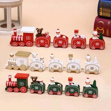 5pcs Wooden Train Kids Christmas Toy Family Party Decor Ornaments Home Decoration 2019 New Year Gift for Children Baby