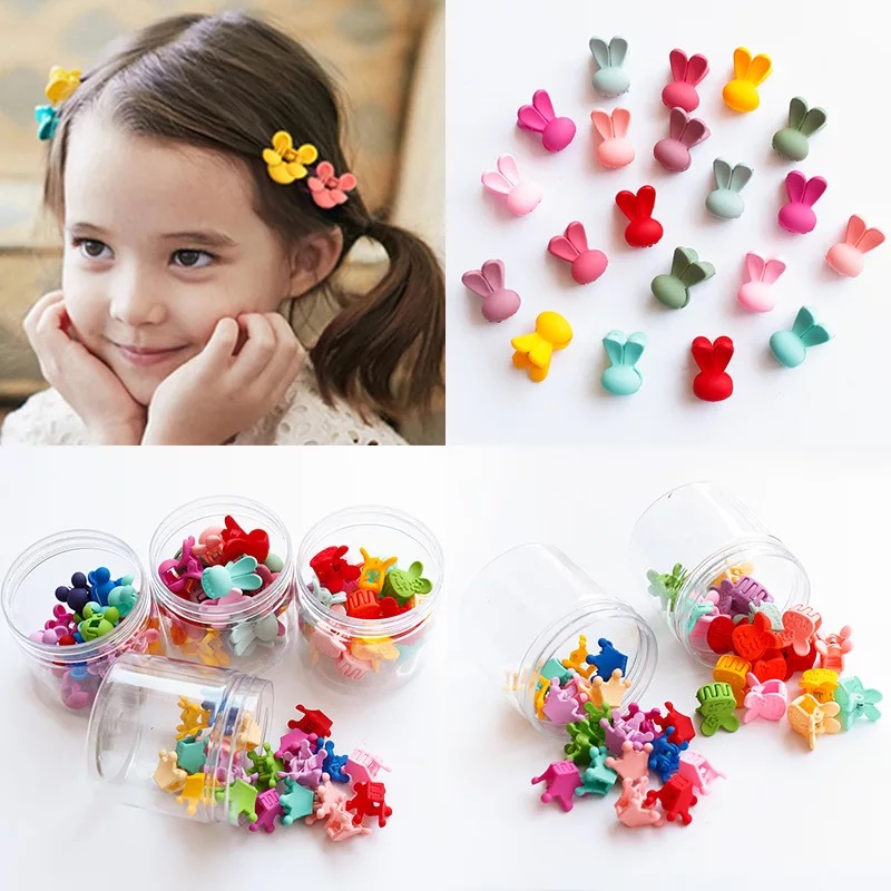 20pcs Girls Hair Claw Flower Tiaras Rabbit Mini Hair Clip Cartoon Children Hair Accessories Baby Birthday Plastic Box Gift new hair claw for women girl elegant high quality hair clip party decorations holiday gift accessories