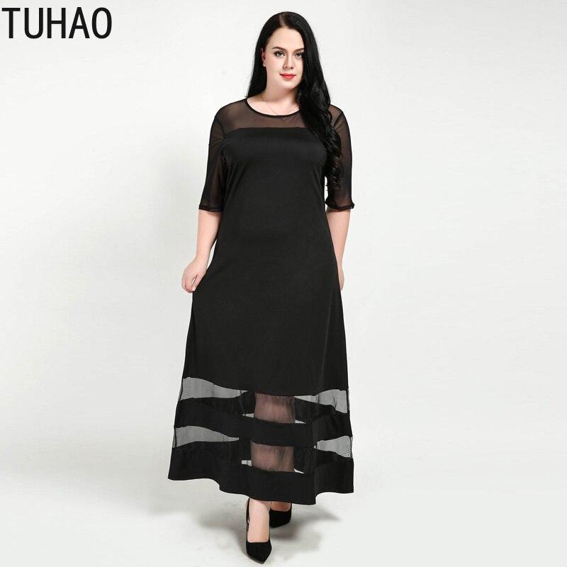 10f0b203625 TUHAO 2019 летнее платье 7XL 6XL 5XL офисное платье плюс размер черные  сексуальные Клубные платья женские